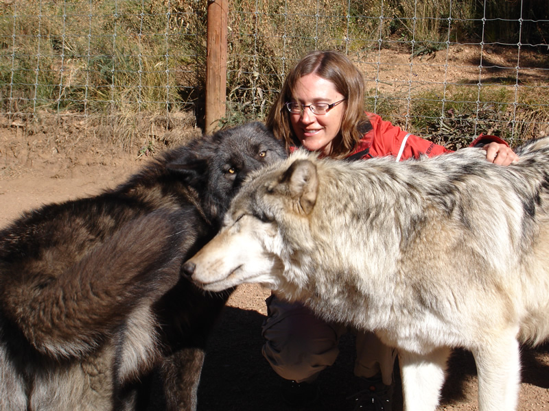 Kim with Keyni and Kekoa (Wolves)